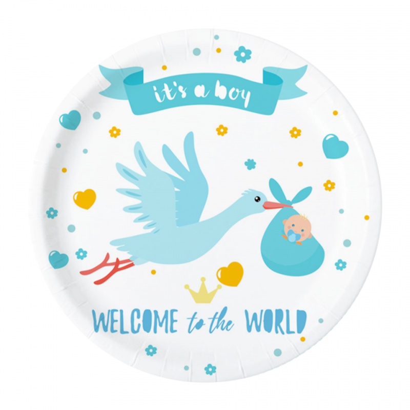 Peotaldrikud Welcome To The World Boy 18,5cm (6 tk/pk)